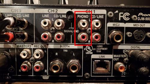 Phono inputs on Pioneer DJM900 NXS Mixer
